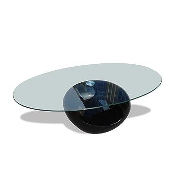 Vidaxl Table Basse Dessus De Table Verre Ovale Noir Brillant Canape