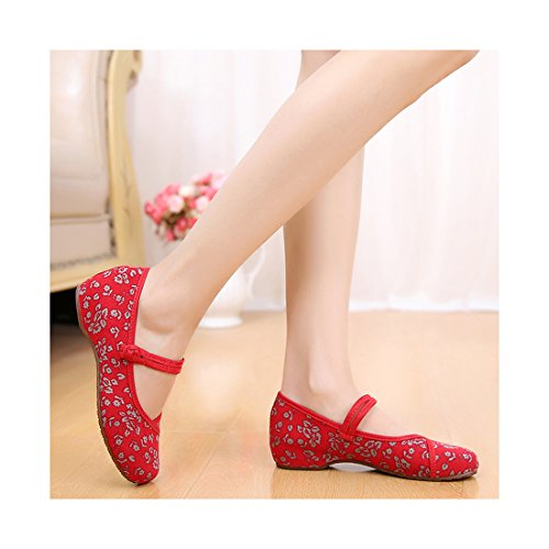 Chaussures Florales Chinoises Brodées Vintage Femme XIAOSUIHUA Ballerines Mary Jane Ballerine Flat Ballet Cotton Loafer Rouge