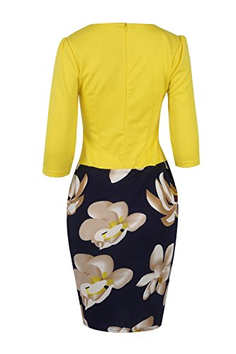Las Mujeres De Negocios Oficina Lápiz Patchwork Floral Vestido De Fiesta Yellow