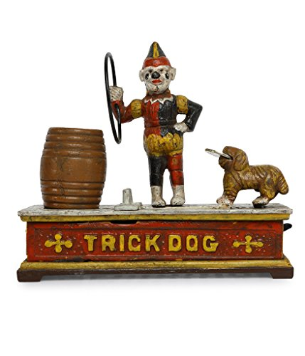 SafeDeals Antique / Vintage Style Cast Iron Mechanical Trick Dog Money Box Money Bank Piggy Bank - Vintage Cast Iron Toy