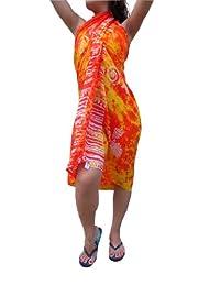 Ingear Long Batik Print Sarong (One Size, Orange Yellow/Shells)