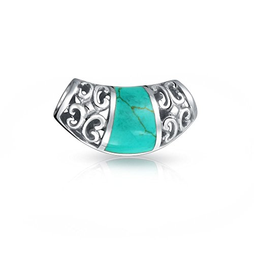 Filigree 925 Silver Reconstituted Turquoise Inlay Pendant Slide