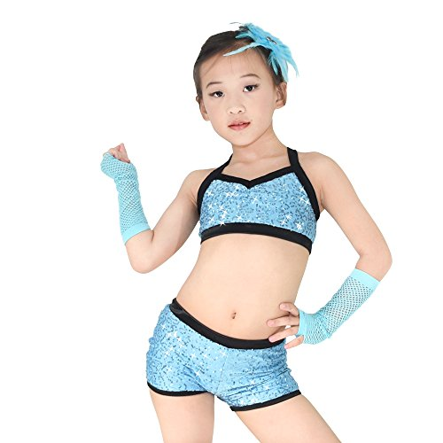 [MiDee Sequins Costume Crop Tops & Shorts Hip Hop Pole Dance Outfits Gymastics Acrobatics Competition Performance (XSC, Sky Blue)] (Dance Costumes For Hip Hop Competitions)