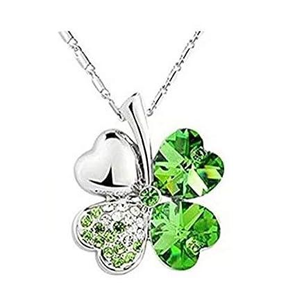 Colgantes de trébol de cuatro hojas collares plateada plata cristalina para las mujeres
