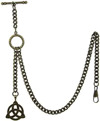 Albert Chain Pocket Watch Curb Link Chain Antique Brass Color - 2 Ways Usage on Vests & Trousers or Jeans with Symmetrical Pattern Fob T Bar ACT08