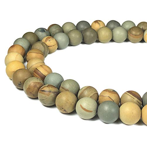 ([ABCgems] Matte American Wild Horse Picture Jasper 8mm Smooth Round Beads for Beading & Jewelry Making)