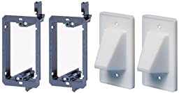 Arlington LVCE1-2 Low Voltage Mounting Bracket with Cable Wall Plate, 1-Gang, 2-Pack