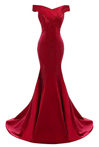 Silhouette Prom Gown Mermaid (Yinyyinhs Women's Evening Dress Off Shoulder Ruffles Mermaid Formal Prom Gowns Size 14 Burgundy)
