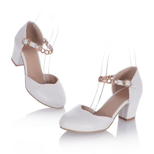 Voguezone009 Metallo Sandali Heel Kitten Bianco Womens Closed Morbido Round Con Pu Materiale Solidi Toe CnpCrq
