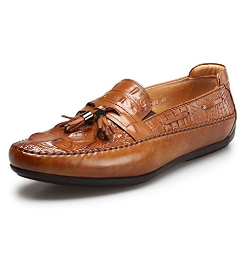 Mens Waterproof Casual Walking Loafers with Metal Decorations - Fashionable and Comfortable Brown2 dv1ZO