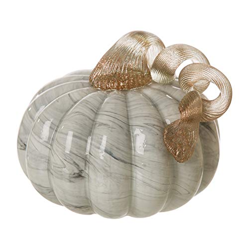 Glitzhome Hand Blown Glass Pumpkin Table Accent for Fall Harvest Decorating for Mother, Gray Marble, 4.13