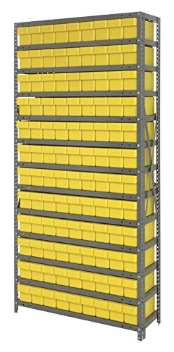 Quantum Storage Systems - Steel Shelving Unit with Bins - - 108 Qed501 Yellow - L x W x H - 12'' x 36'' x 75'' - - 1 - Steel - Part Number:1275-501YL