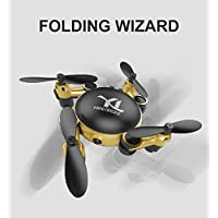 Fancywhoop Micro Quadcopter, Mini Folding Pocket Drone 2.4GHz 4CH 6-Axis Gyro Altitude Hold Wifi FPV Real-time Transmission High-definition RC Quadcopter