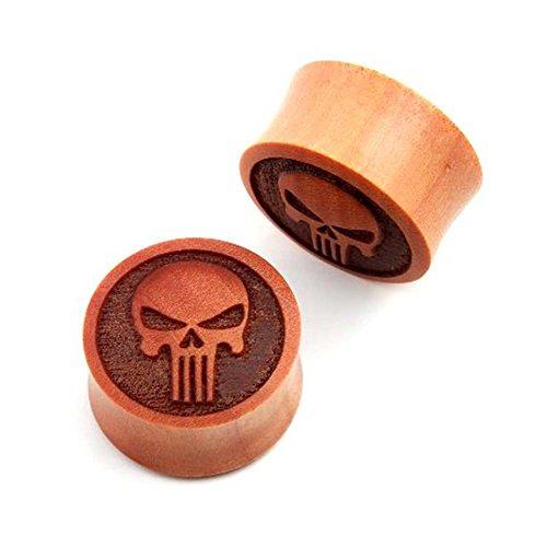 JewelryVolt Pair of Modern Skull Carved Double Flare Organic Sawo Wood Ear Plugs (Gauge Organic Sawo Wood)