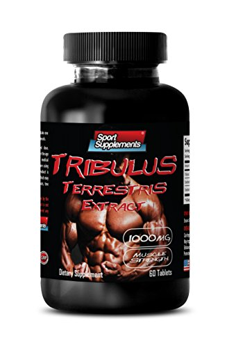 Testosterone booster for men muscle growth pills - TRIBULUS TERRESTRIS EXTRACT 1000MG - MUSCLE STRENGTH - Tribulus terrestris pills - 1 Bottle 60 (Tribulus Muscle Building)