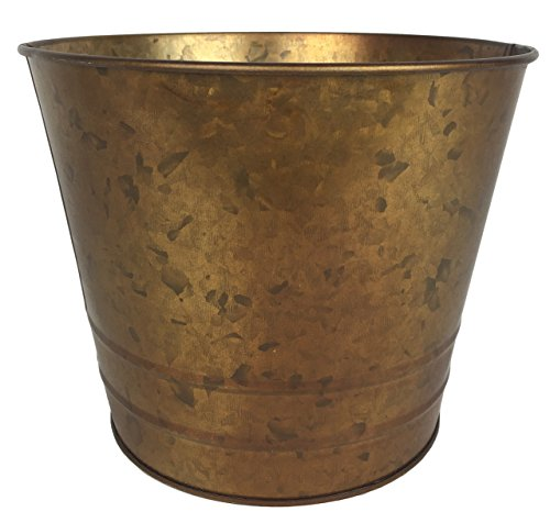 (Grandma Smiley's Large Decorative Galvanized Bronze Metal Planter)