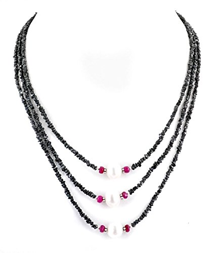Barishh 180 Cts. Three Row Black Diamond and Pearl Necklace-Diamonds 4-5mm.Certified. Very Elegant by Barishh