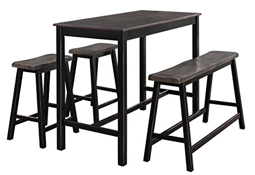 Homelegance Visby 4-Piece Counter Height Dining Set, Brown/Black