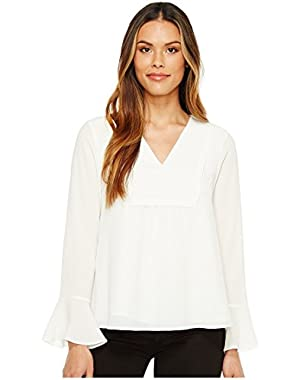 Calvin Klein Womens Bell Sleeve V-Neck Blouse