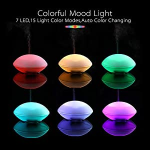 MissRhea Mini USB Essential Oil Diffuser Humidifier,80ml Cute Shell Shape Aromatherapy Kids Diffuser, Decor Lighting with 7 LED Color Changing Lamps and Waterless Auto Shut-Off (White)