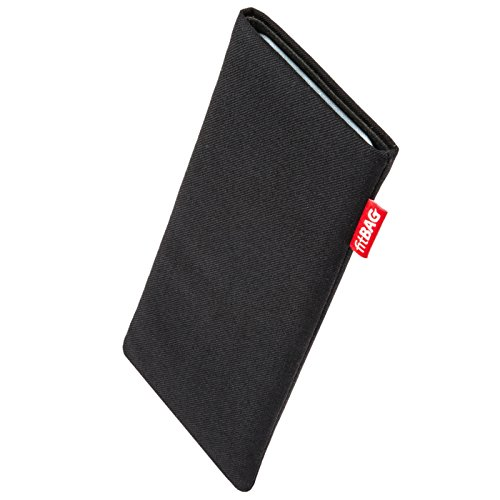 fitBAG Rave Black custom tailored sleeve for Archos Core 60S. Fine suit fabric pouch with integrated MicroFibre lining for display cleaning - 1960s Fabric