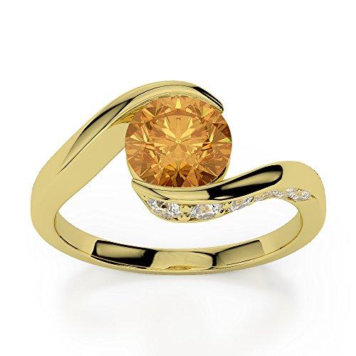 Or jaune 18carats 0,76ct G-H/VS sertie de diamants ronds Cut Citrine et bague de fiançailles Agdr-1209