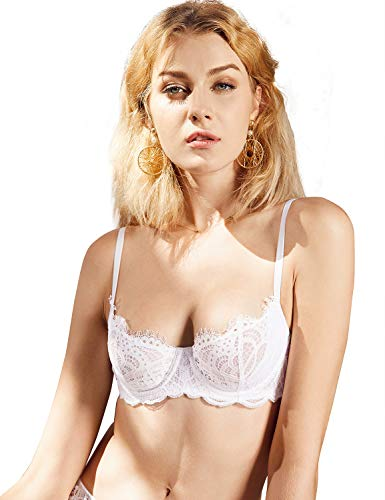 (DOBREVA Women's Unlined Push Up Underwired Support Bra with Lace White 34B)