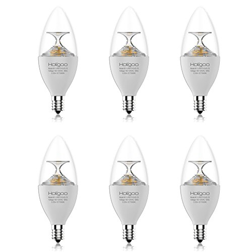 Holigoo 3.5W LED Candle Light Bulb, 5000K E12 Candelabra Bulb, 300Lm Candle Lamps Equivalent 40W Incandescent Lamp, 260 Degree Beam Angle for Chandeliers, Dining Room and Supermarket(6 Pack)