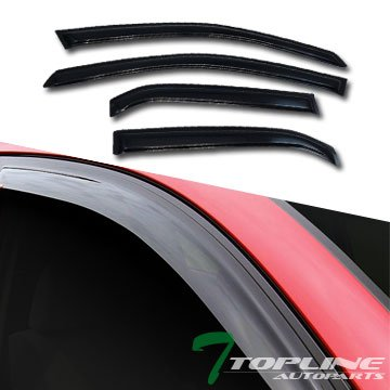 Topline Autopart Smoke Window Visors Deflector Vent Shade Guard 4 Pieces For 02-07 Mitsubishi Lancer