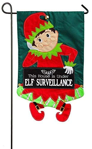 Evergreen Elf Surveillance Applique Garden Flag, 12.5 x 18 inches