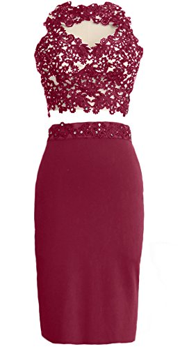 MACloth Gorgeous 2 Piece Jersey Cocktail Dress Short Prom Homecoming Formal Gown Wine Red