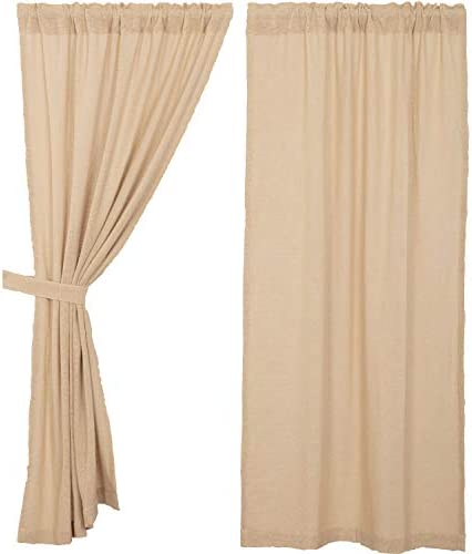 VHC Brands Burlap Vintage Curtain, Panel Set 63×36, Beige