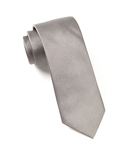 The Tie Bar GrosGrain Solid 100% Woven Silk Titanium Skinny Tie ()