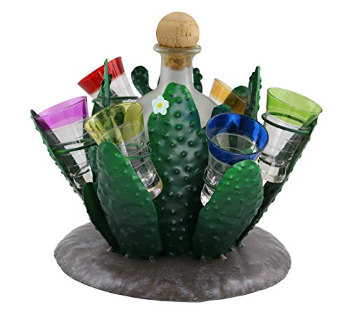 WINE BODIES ZA423 Green Nopal Cactus Metal Wine Bottle Holder Character, (Tequila Set Serving)