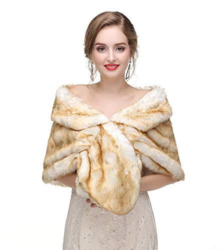 (Women's Faux Fur Collar Shawl Faux Fur Scarf Wrap Evening Cape for Winter Coat Rabbit Hair 57