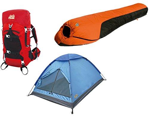 Alpinizmo High Peak USA Mt.Rainier 0F Sleeping Bag Stratos 40 & 3 Men Tent, Red/Orange/Blue, One Size ()