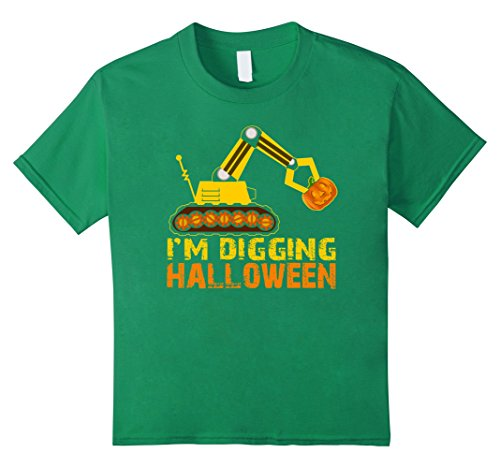 Kids Funny Cute I'm Digging Halloween Truck Claw Pumpkin Shirt 4 Kelly Green (Monster Truck Costumes)