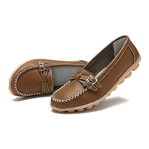 Fisca Women's Buckle Moccasins Slip On Loafer Flat Shoes Brown souCMP4m