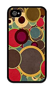 iPhone 4 Case,iPhone 4S Case,VUTTOO iPhone 4 Cover With Photo: Multicolor Circles Brown For Apple iPhone 4/4S - TPU Black