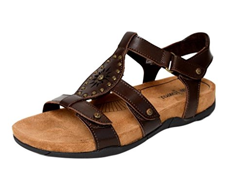 Chocolate Leather Footwear - Minnetonka Womens Bristol Sandal, Chocolate Leather, Size 7