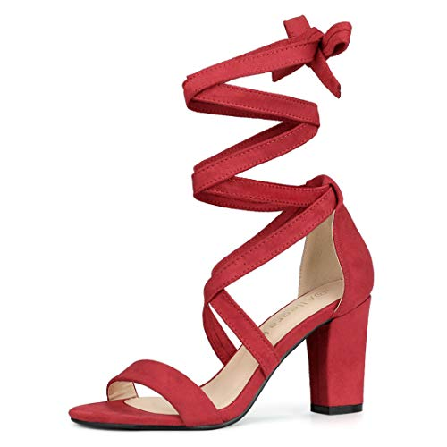 Allegra K Women's Lace Up Block Heels Red Sandals - 7 M US (Red One Strap Heels)