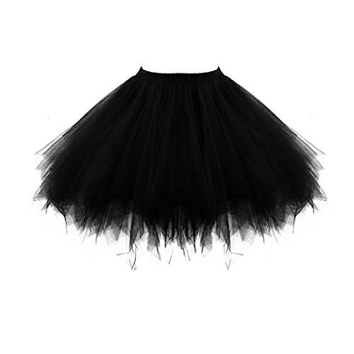 goldblue Halloween Costumes Girls Dress Up Tulle Skirt Short Tulle Petticoat Skirts (Black) ()
