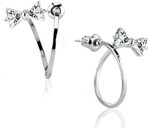 Sparkling Cubic Zircon Twisted Mini Bow Bowknot Tie Ribbons Ear Jacket Stud Earrings Piercing Jewelry