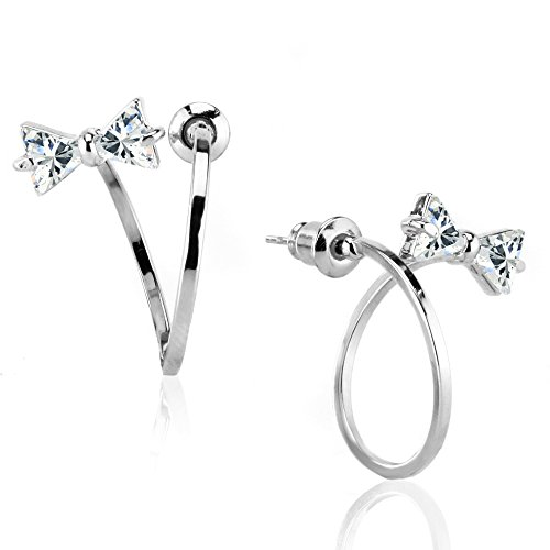 Ribbon Knot Ring (Sparkling Cubic Zircon Twisted Mini Bow Bowknot Tie Ribbons Ear Jacket Stud Earrings Piercing Jewelry (01. White Gold)