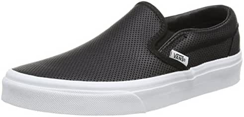 Vans Unisex Classic Slip-On (Perf Leather) Black Skate Shoe 6.5 Men US / 8 Women US