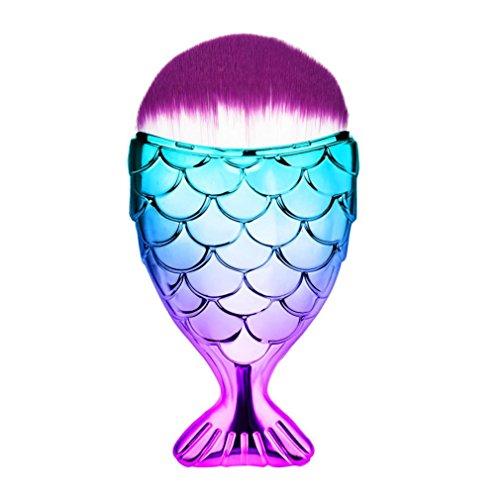 Clearance ! Ninasill Fish Scale Makeup Brush Fishtail Bottom Brush Powder Blush Makeup Cosmetic Brush (B)