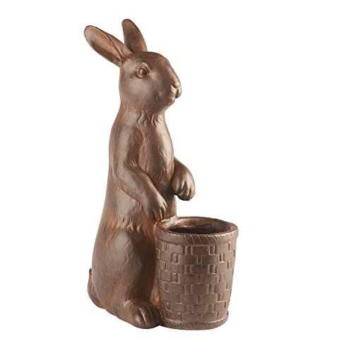 ART & ARTIFACT Rabbit with Basket Planter - Outdoor Safe Res