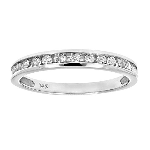 Diamond Channel Stone Ring (1/4 ctw Classic Diamond Wedding Band in 14K White Gold In Size 9)
