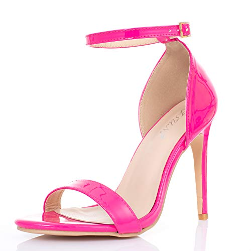 JSUN7 Women's High Heel Sandals One Band Open Toe Ankle Strap with Buckle Fashion Dress Stiletto Heels Party Office Shoes for Women Red