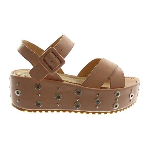 Angkorly Damen Schuhe Sandalen Mule Knöchelriemen
